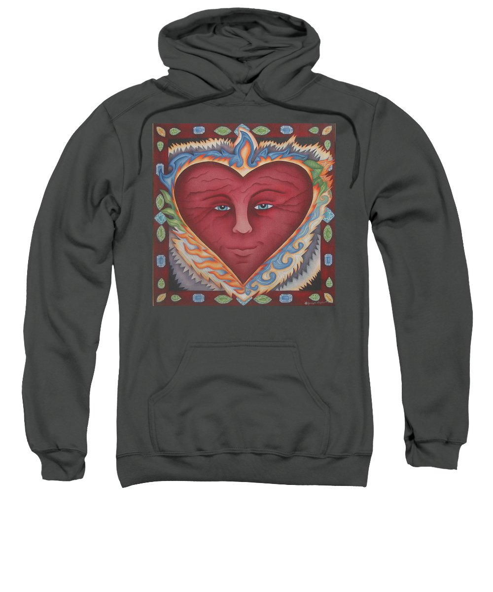 Heart Sweatshirt featuring the painting Headheartandspirit.jpg by Jeniffer Stapher-Thomas