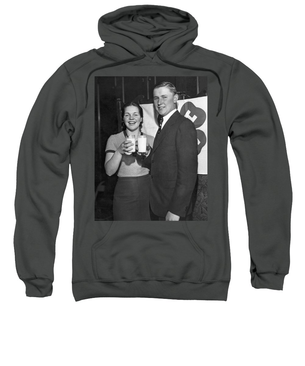 1930s Sweatshirt featuring the photograph Health Champions Drink Milk by Underwood Archives