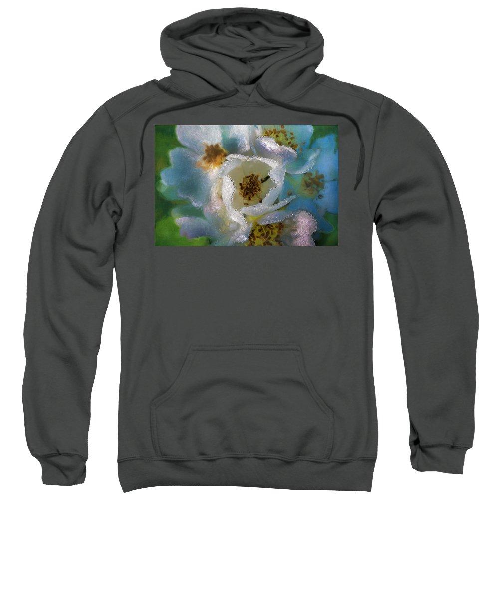 Flower Sweatshirt featuring the photograph Heart Of A Dewy Flower by Frank Shoemaker