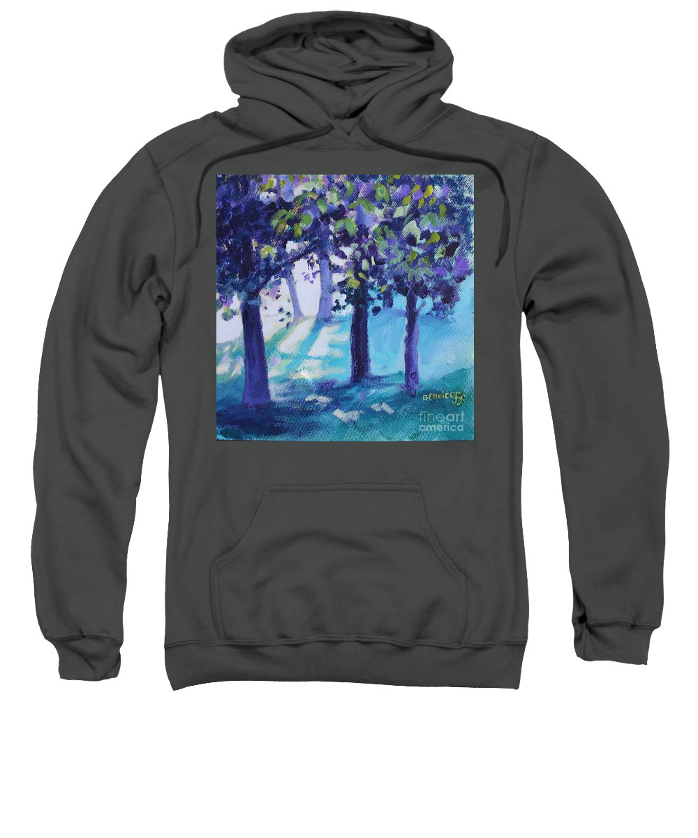 Expressionist Sweatshirt featuring the painting Heart Of The Forest by Jan Bennicoff