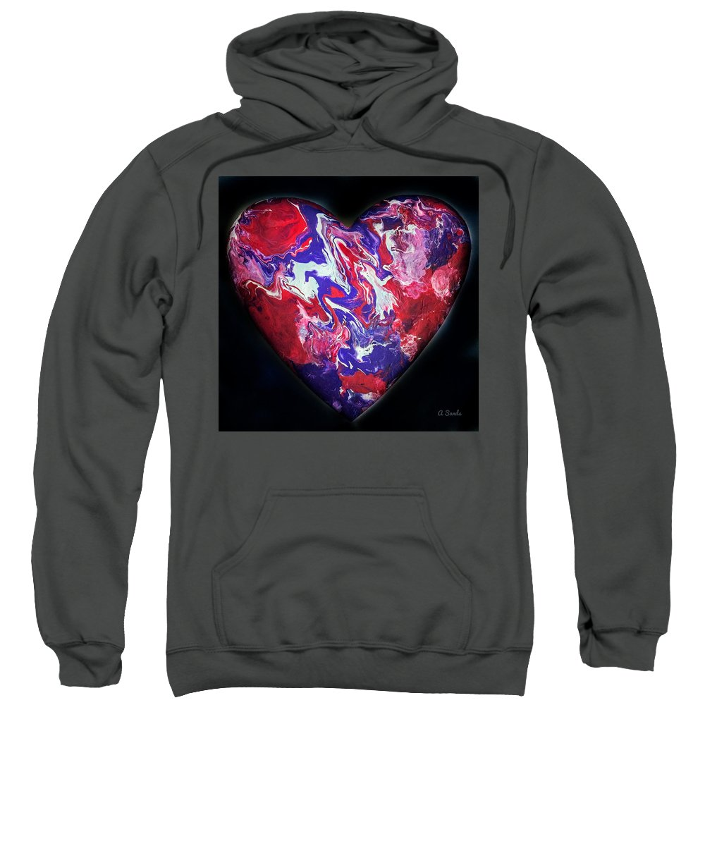 Heart Sweatshirt featuring the painting Heart Of The Matter by Anne Sands