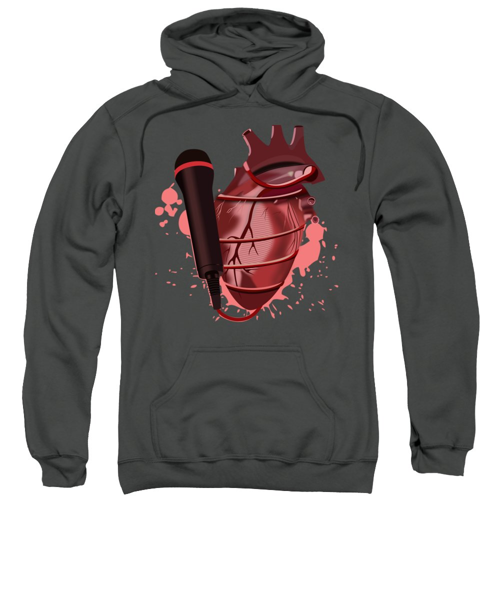 Music Heart Microphone Sweatshirt featuring the drawing Heart Song1 by Marchel Walker