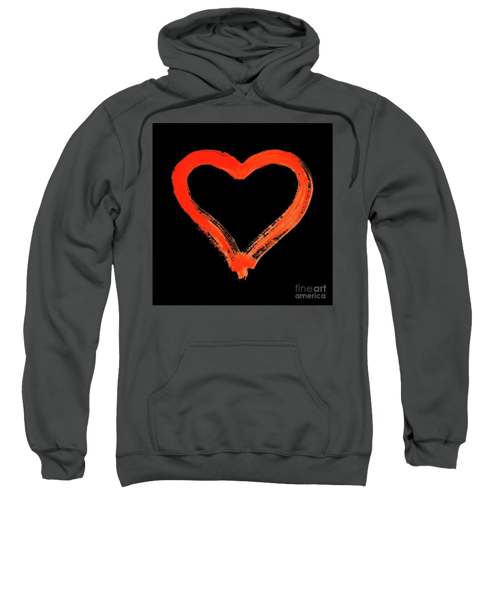 Heart Sweatshirt featuring the drawing Heart - Symbol Of Love - Watercolor Painting by Michal Boubin