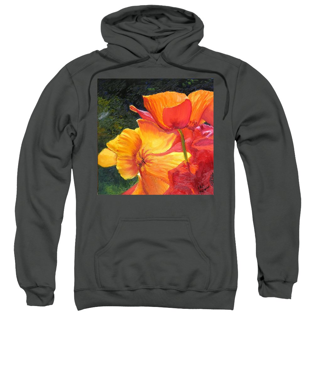 Flower Sweatshirt featuring the painting Hearts Of Poppies by Lea Novak