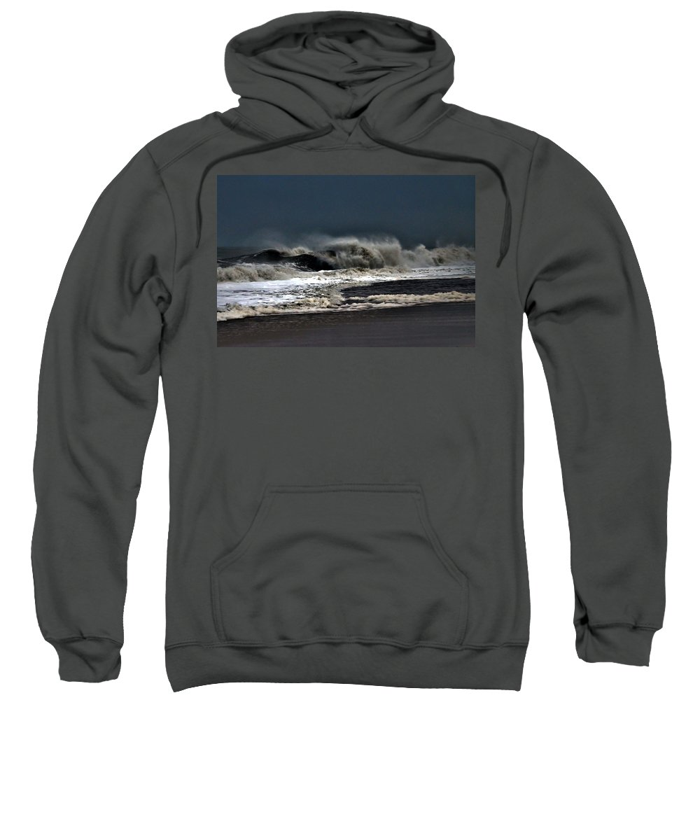 Surf Sweatshirt featuring the photograph Stormy Surf by Kim Bemis