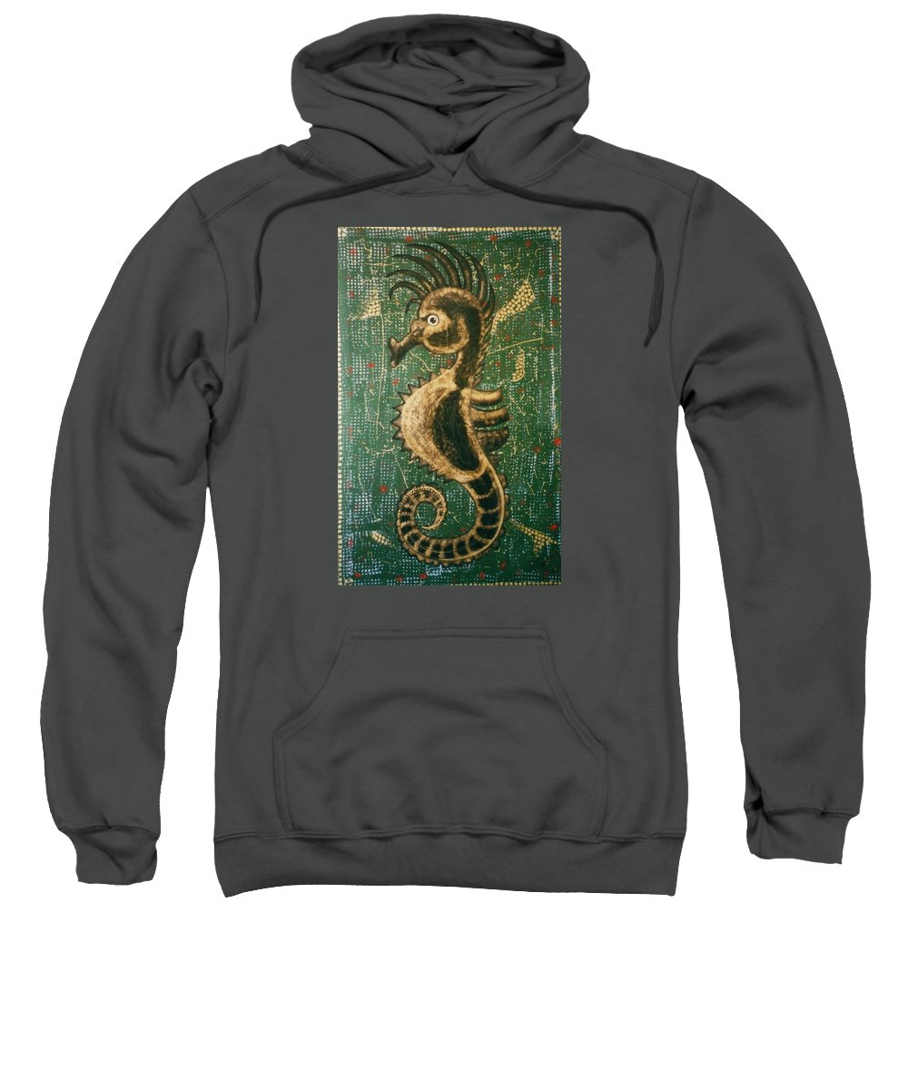 Seahorse Sweatshirt featuring the painting Hehorse by Joan Stratton