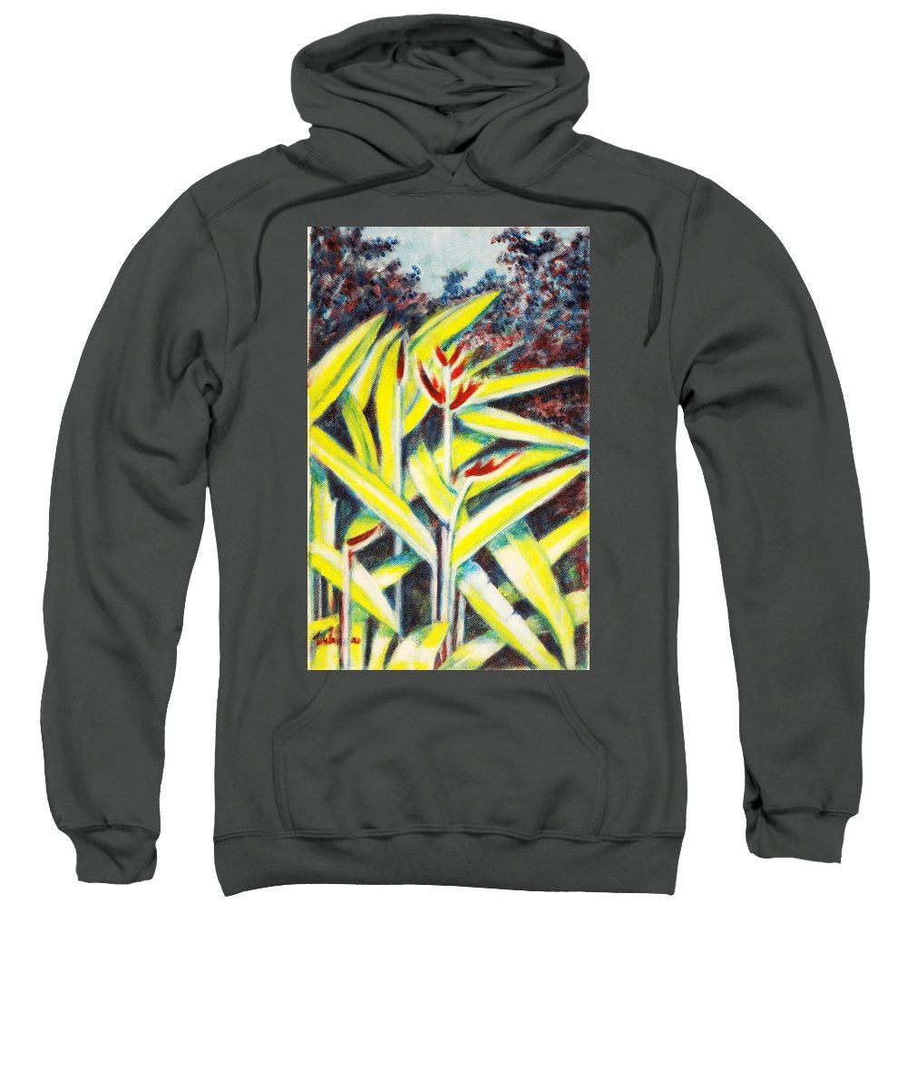 Heliconia Sweatshirt featuring the painting Heliconia 2 by Usha Shantharam