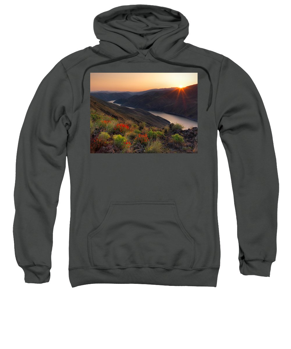 Altitude Sweatshirt featuring the photograph Hells Canyon Sunrise by Leland D Howard