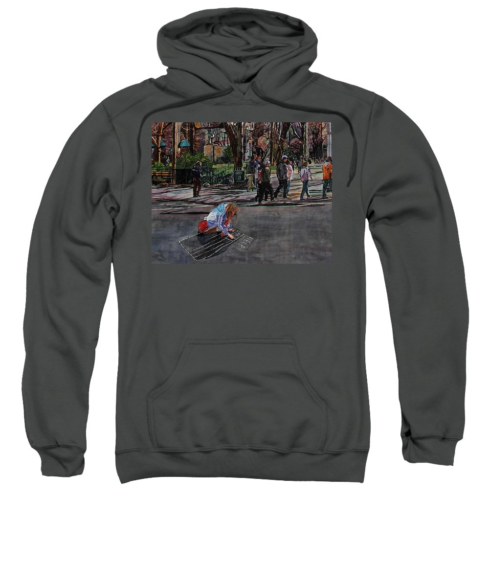 Political Sweatshirt featuring the painting Help by Valerie Patterson