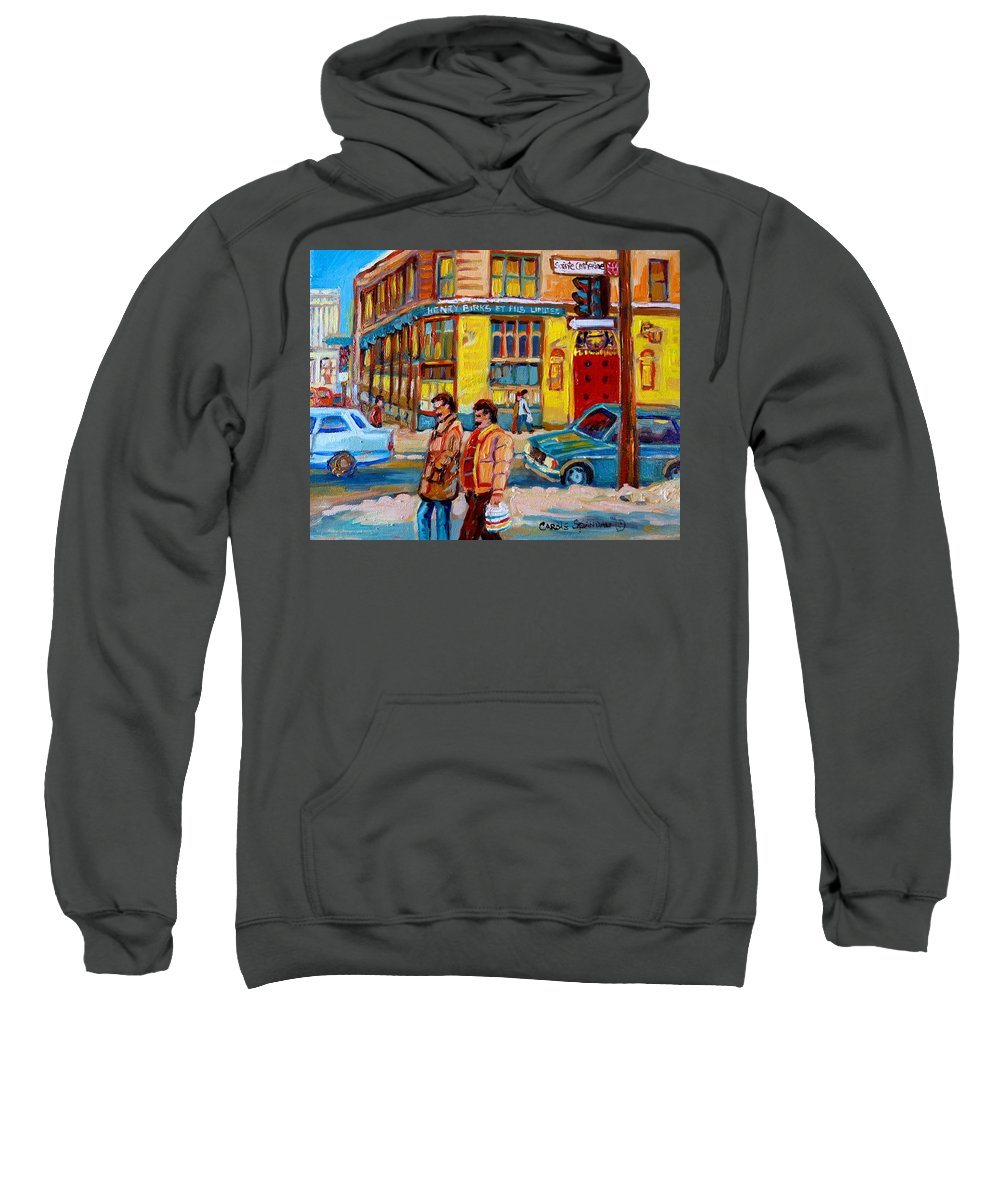 Downtown Montreal Sweatshirt featuring the painting Henry Birks On St Catherine Street by Carole Spandau