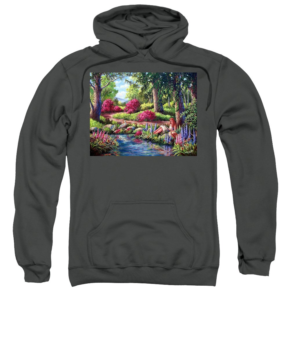 Read Sweatshirt featuring the painting Her Reading Hideaway by David G Paul