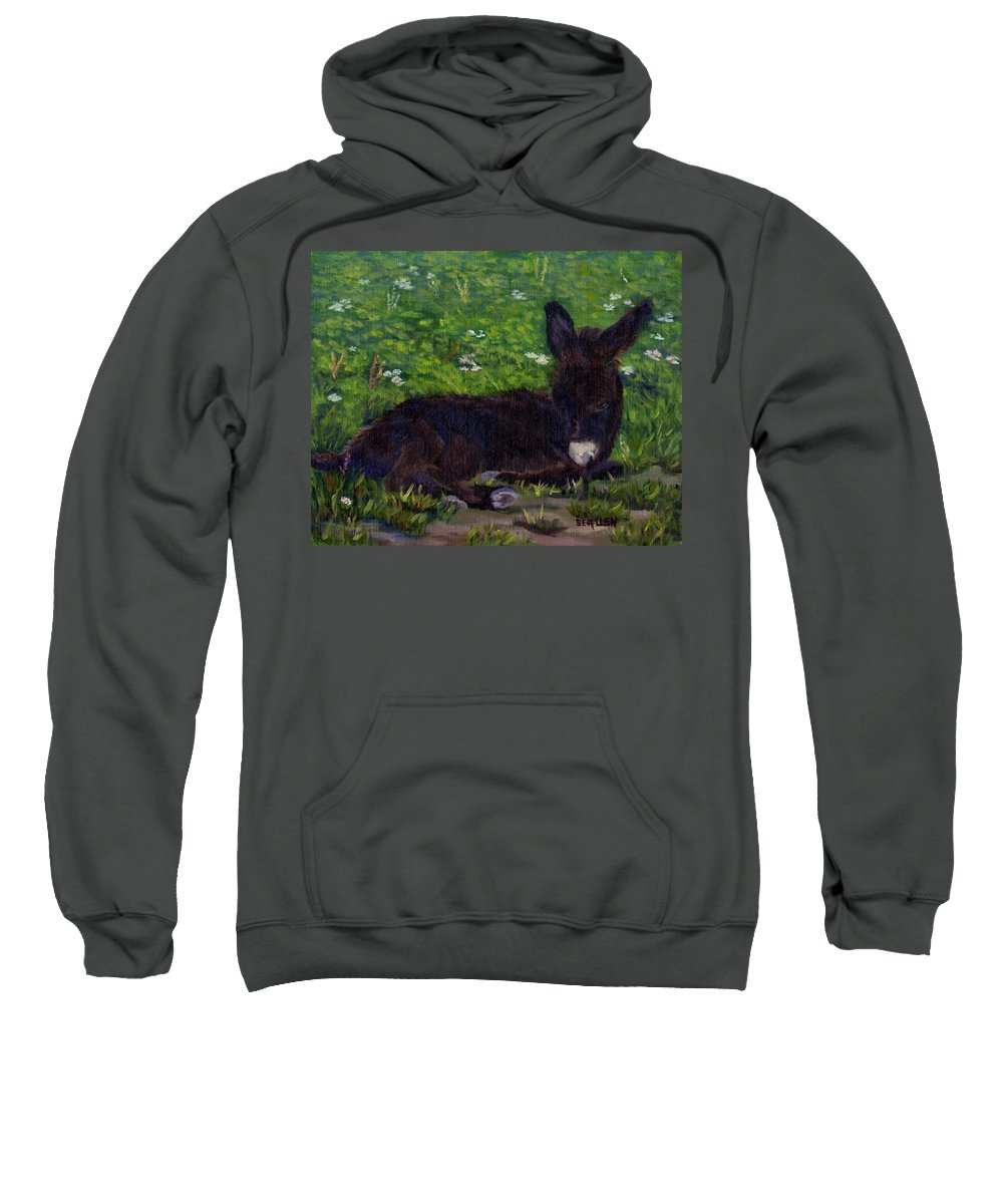 Donkey Sweatshirt featuring the painting Hercules by Sharon E Allen