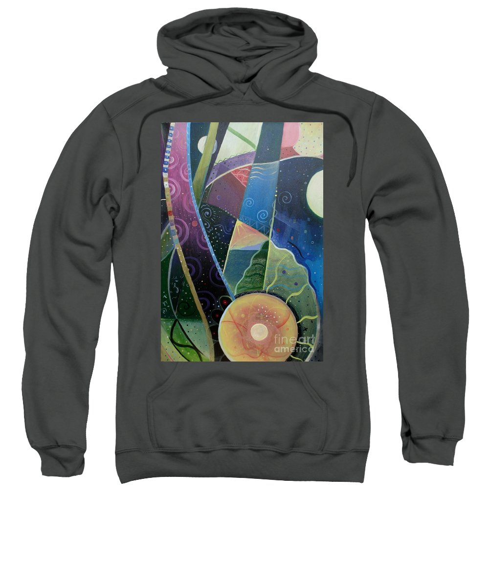 Multi-dimensional Sweatshirt featuring the painting Here And There by Helena Tiainen
