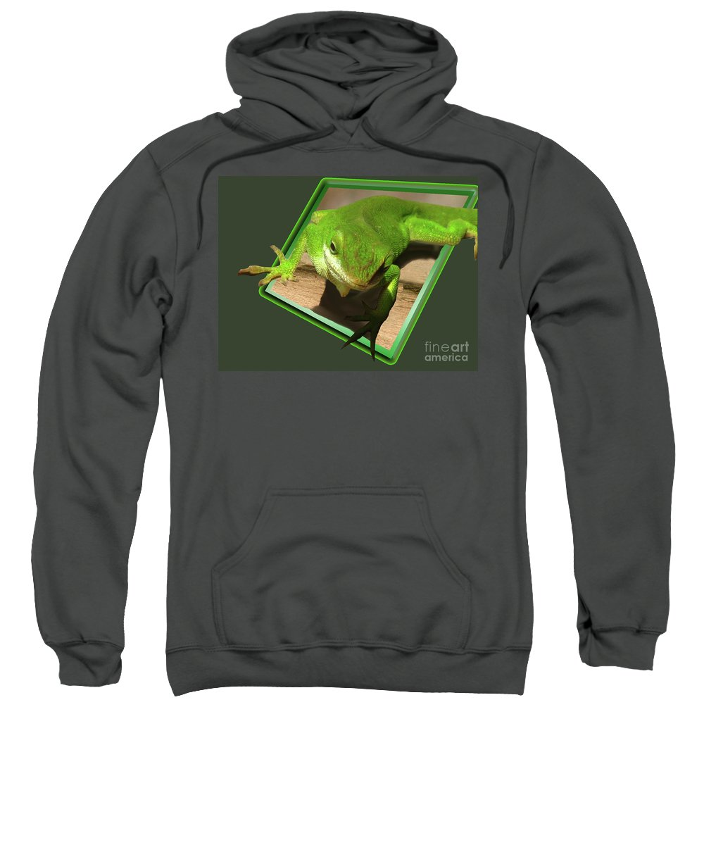 Chameleon Sweatshirt featuring the digital art Here Looking At You by Donna Brown