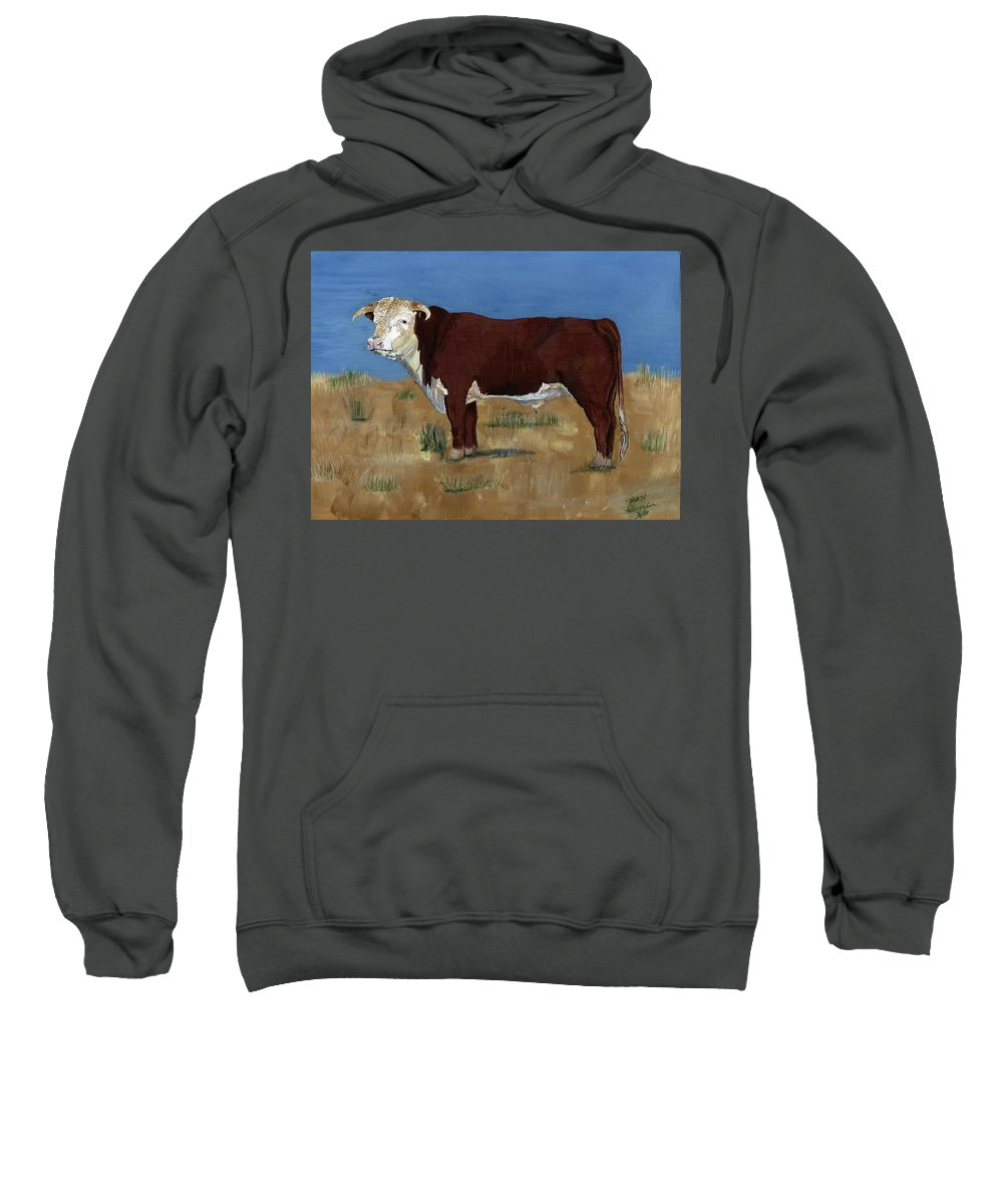 Cow Sweatshirt featuring the painting Hereford by Sara Stevenson