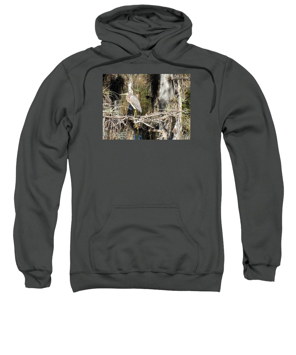 Heron Sweatshirt featuring the photograph Heron In Everglades by Bonita Barlow