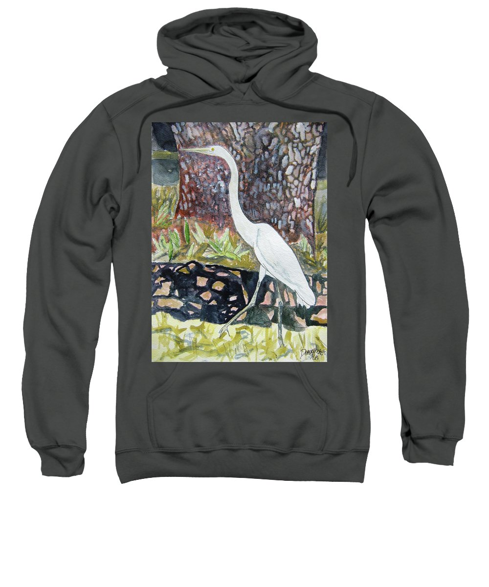 Bird Sweatshirt featuring the painting Herron by Derek Mccrea
