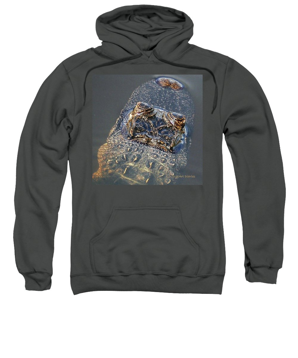 Alligator Sweatshirt featuring the digital art Hes Watching You by DigiArt Diaries by Vicky B Fuller