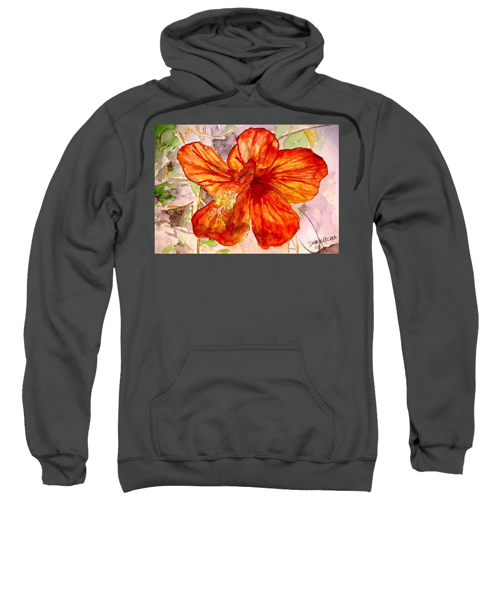 Hibiscus Sweatshirt featuring the painting Hibiscus 2 by Derek Mccrea