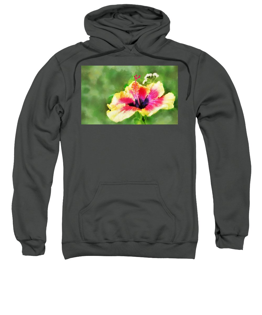 Hibiscus Sweatshirt featuring the digital art Hibiscus by Francesa Miller