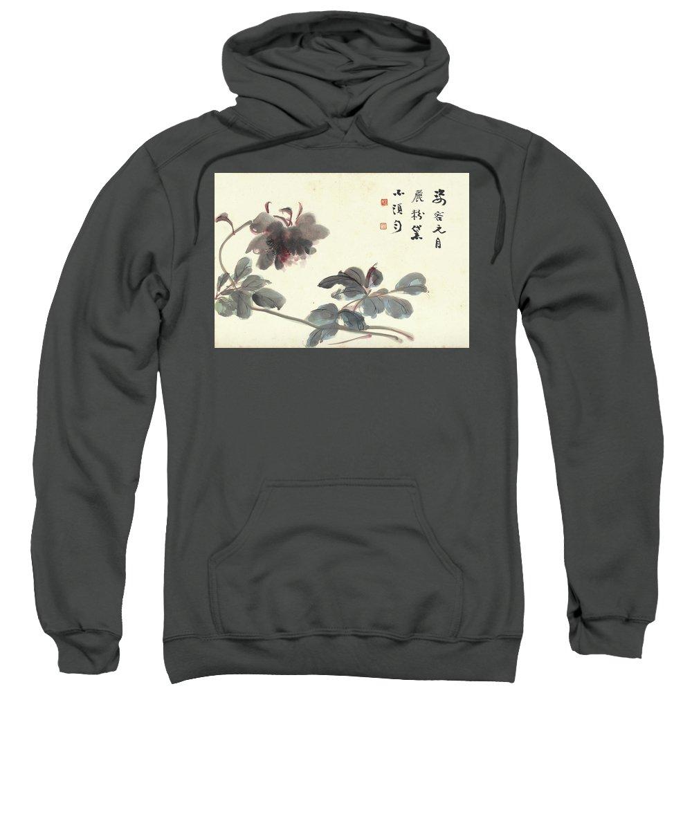 Hibiscus Sweatshirt featuring the painting Hibiscus by Zhang Daqian