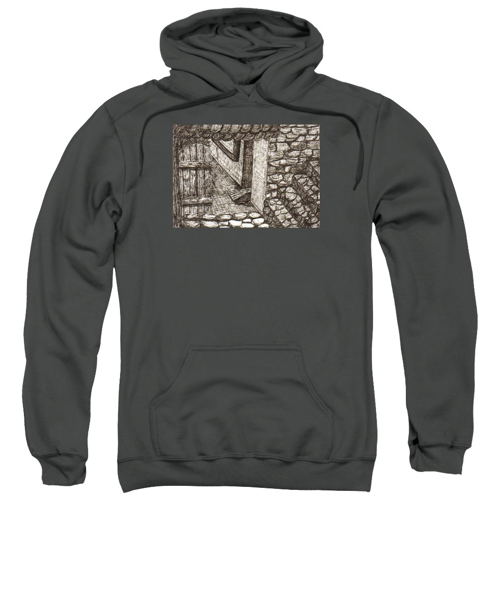 Landscape Sweatshirt featuring the drawing Hidden Courtyard by Julie Ford