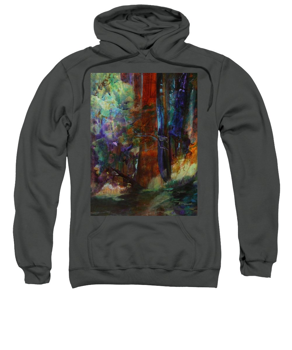 Forest Framed Prints Sweatshirt featuring the painting Hidden Forest by Donna Steward