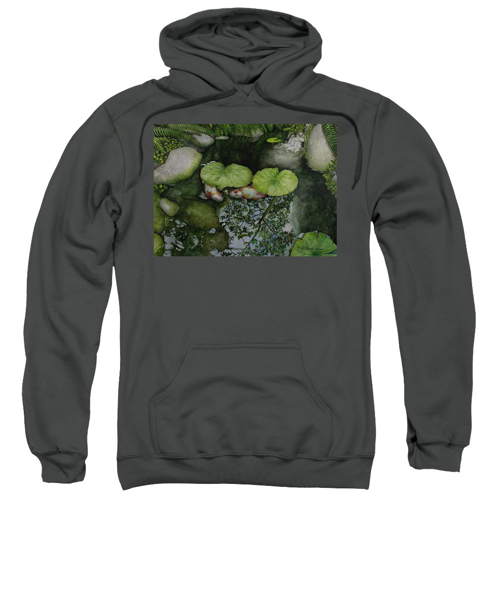 Watercolor Kois Sweatshirt featuring the painting Hide And Seek by Olive Pascual