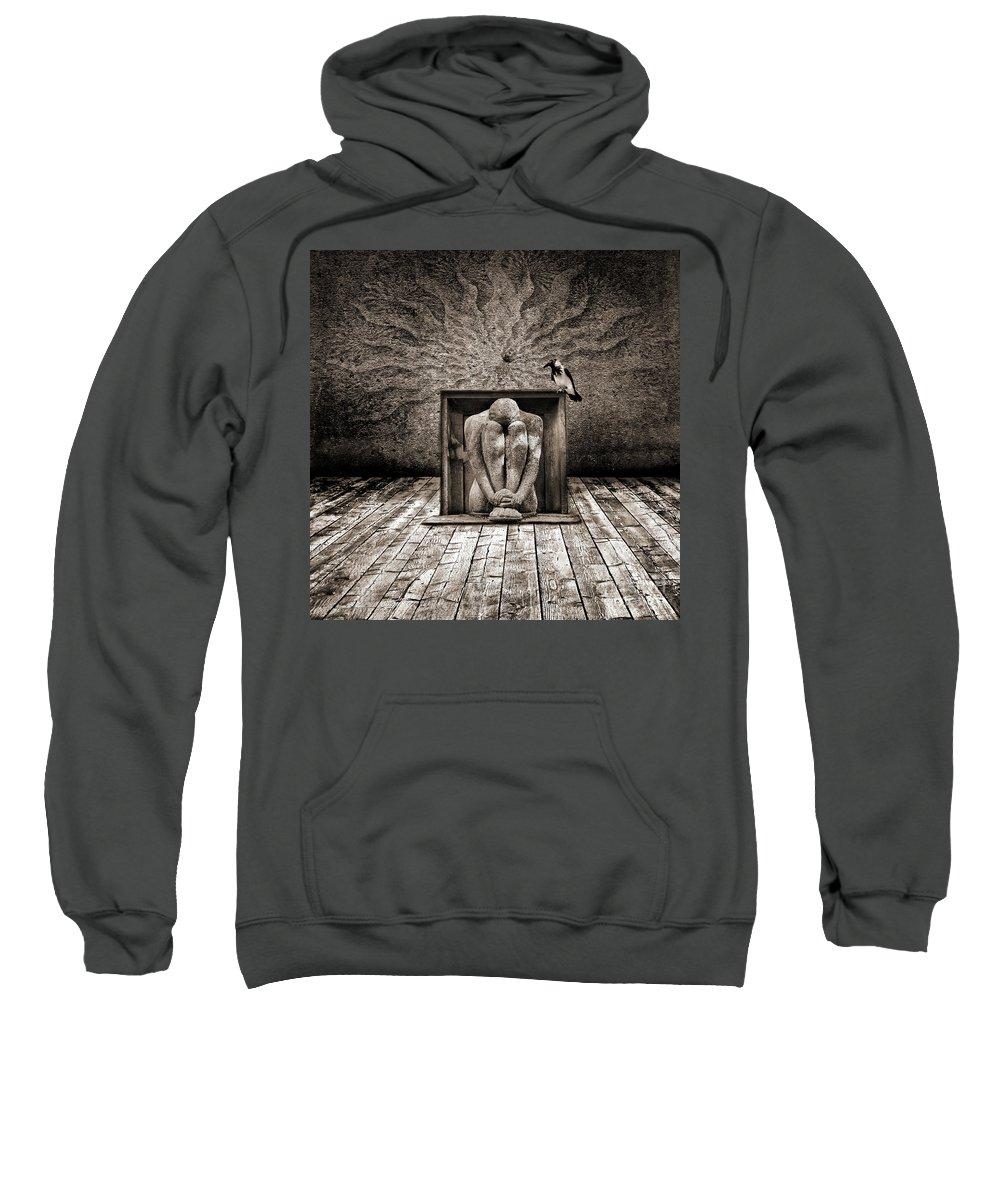 Dark Sweatshirt featuring the digital art Hiding by Jacky Gerritsen