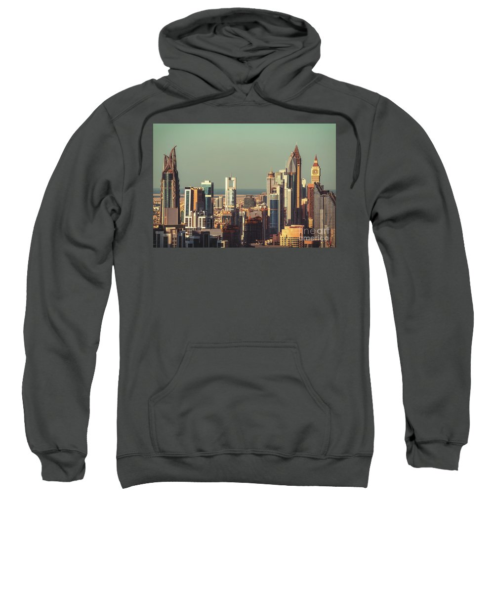 Dubai Sweatshirt featuring the photograph High-angle View Of Dubai's Towers At Sunset. by Dmitrii Telegin