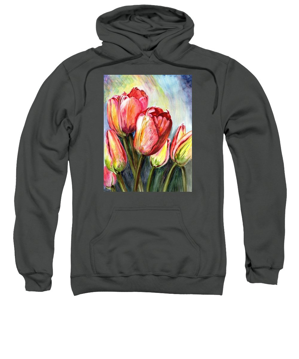 Tulips Sweatshirt featuring the painting High In The Sky by Harsh Malik