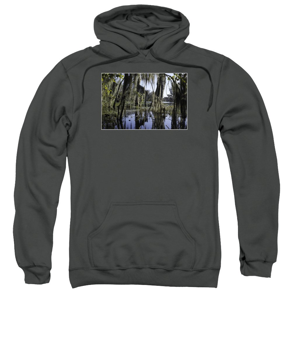 Louisiana Landscape Sweatshirt featuring the photograph High Water On Blind River by Richard Waller