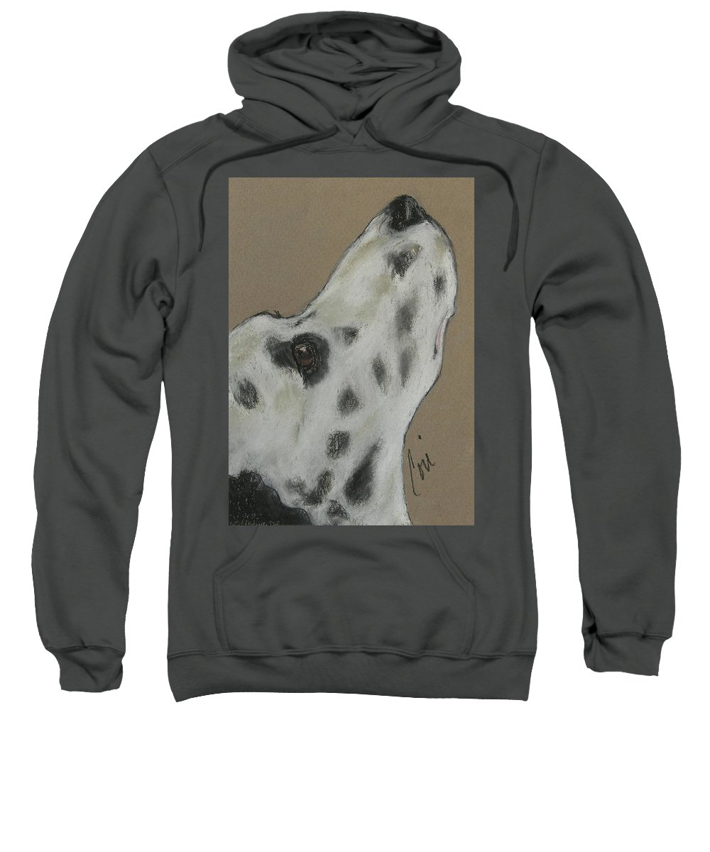 Dalmatian Sweatshirt featuring the drawing Highly Motivated by Cori Solomon