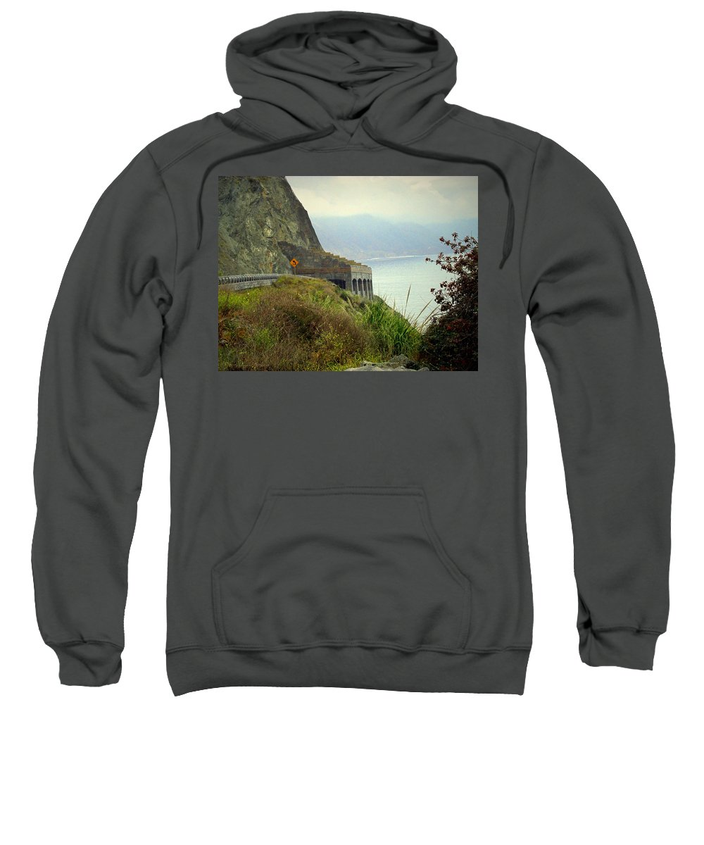 Highway-1 Sweatshirt featuring the photograph Highway 1 At Lucia South Of Big Sur Ca by Joyce Dickens