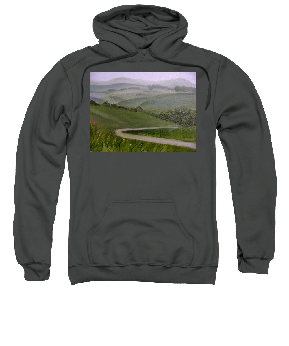 Pathway Sweatshirt featuring the painting Highway Into The Hills by Toni Berry