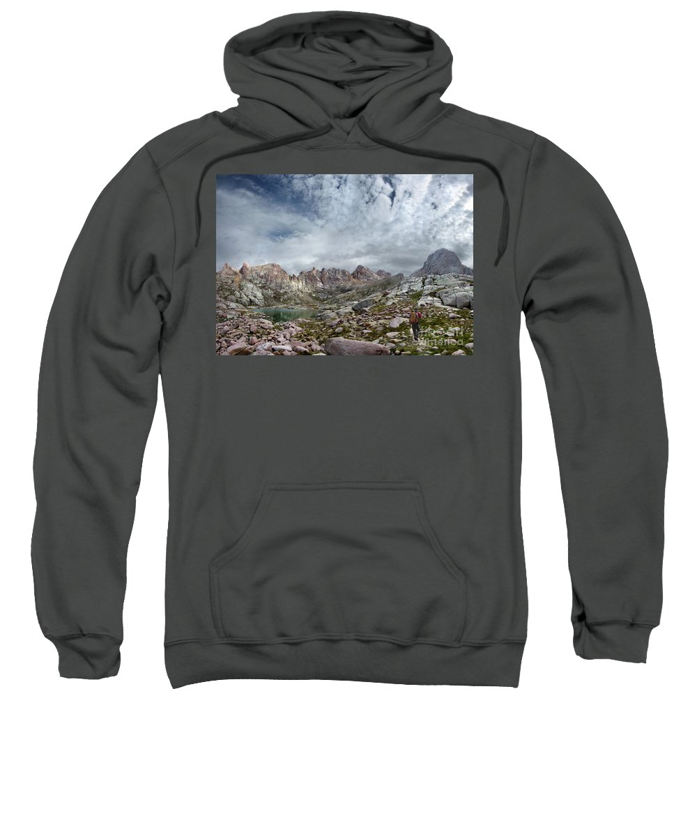 Colorado Sweatshirt featuring the photograph Hiker At Twin Lakes - Chicago Basin - Weminuche Wilderness - Colorado by Bruce Lemons