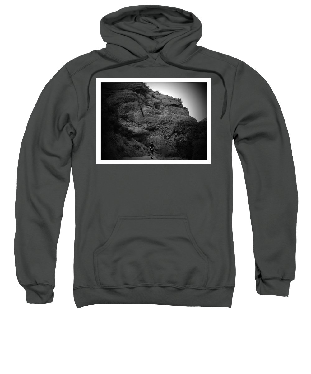 Landscape Sweatshirt featuring the photograph Hiking The Trails In Black And White by Lorie Stevens