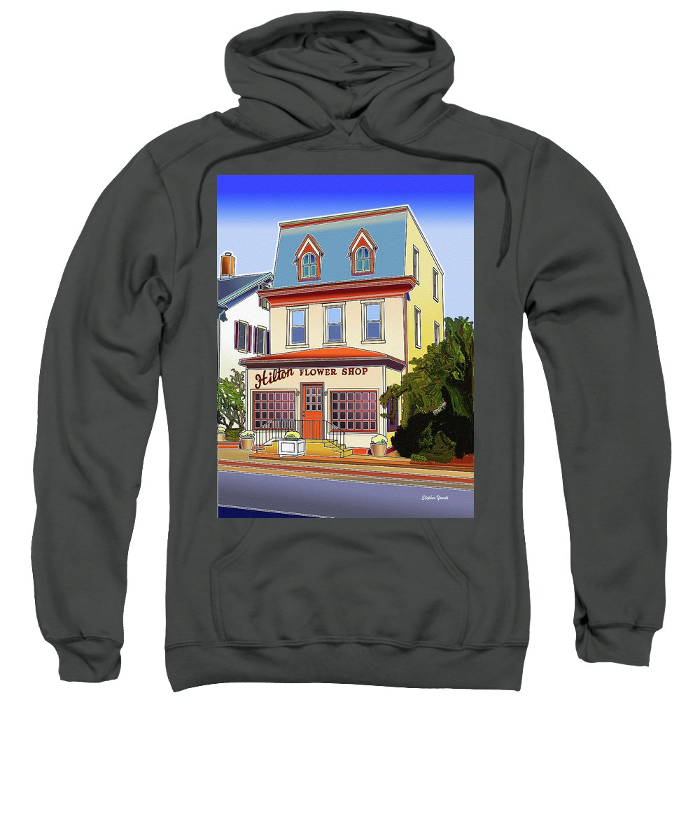 Catonsville Sweatshirt featuring the digital art Hilton Flower Shop by Stephen Younts