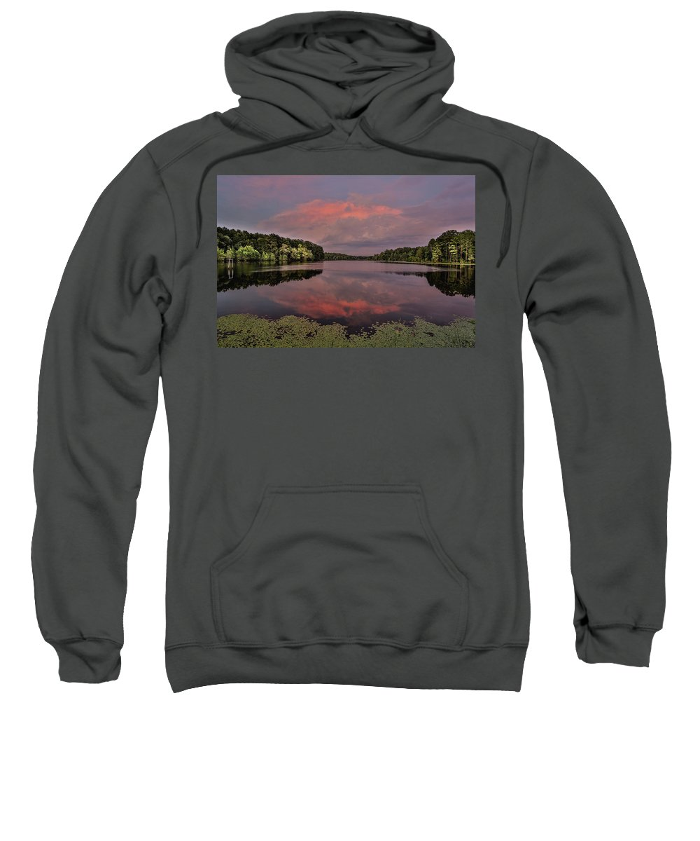 Rockingham Sweatshirt featuring the photograph Hinson Lake Clouds by Jimmy McDonald
