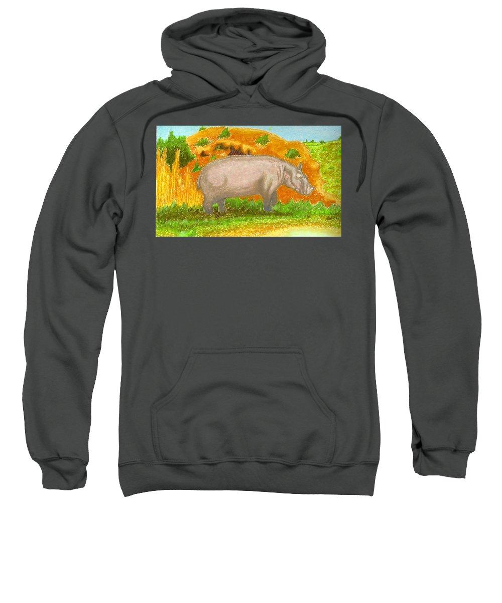 Hippopotamus Sweatshirt featuring the pastel Hippo In The Savanna by Ingrid Diaz