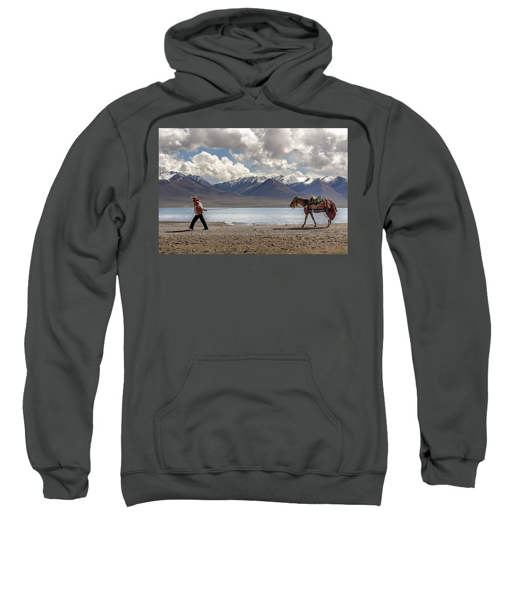 Horse Sweatshirt featuring the photograph His Horse, Tibet, 2007 by Hitendra SINKAR
