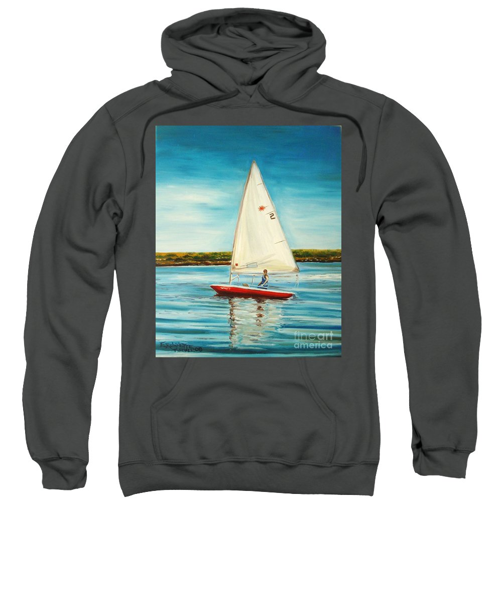 Water Sweatshirt featuring the painting His Laser by Elizabeth Robinette Tyndall