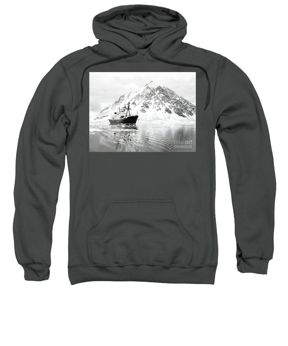 Antarctic Sweatshirt featuring the photograph Hms Endurance Antarctic Ice Patrol Ship by Wilf Doyle