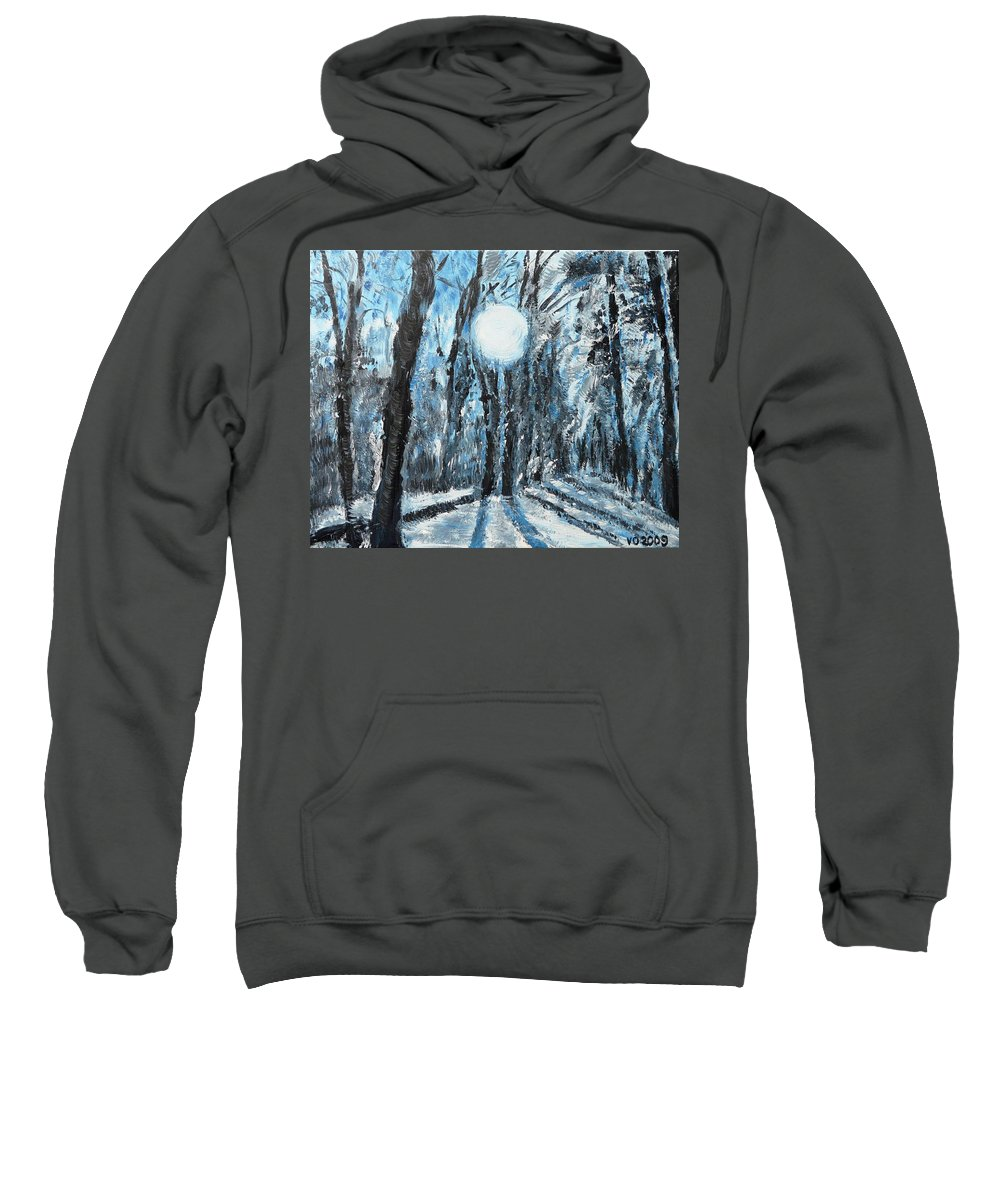 Landscape Sweatshirt featuring the painting Hochleite In January by Valerie Ornstein
