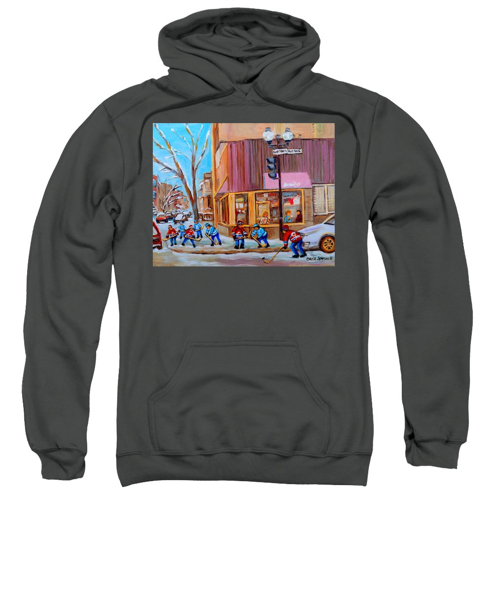 Beautys Luncheonette. Sweatshirt featuring the painting Hockey At Beautys Deli by Carole Spandau