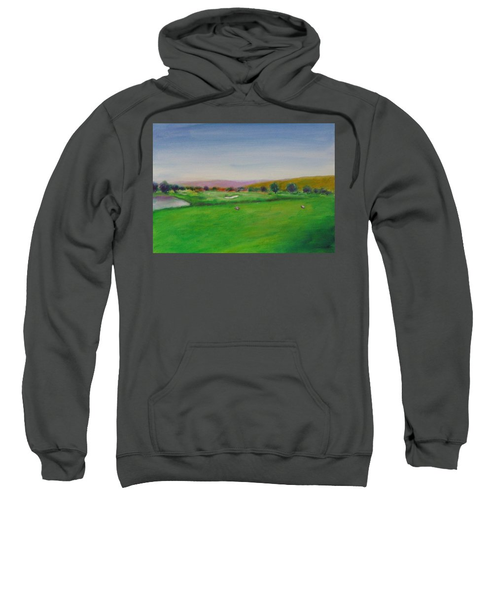 Golf Sweatshirt featuring the painting Hole 7 Of Mice And Men by Shannon Grissom