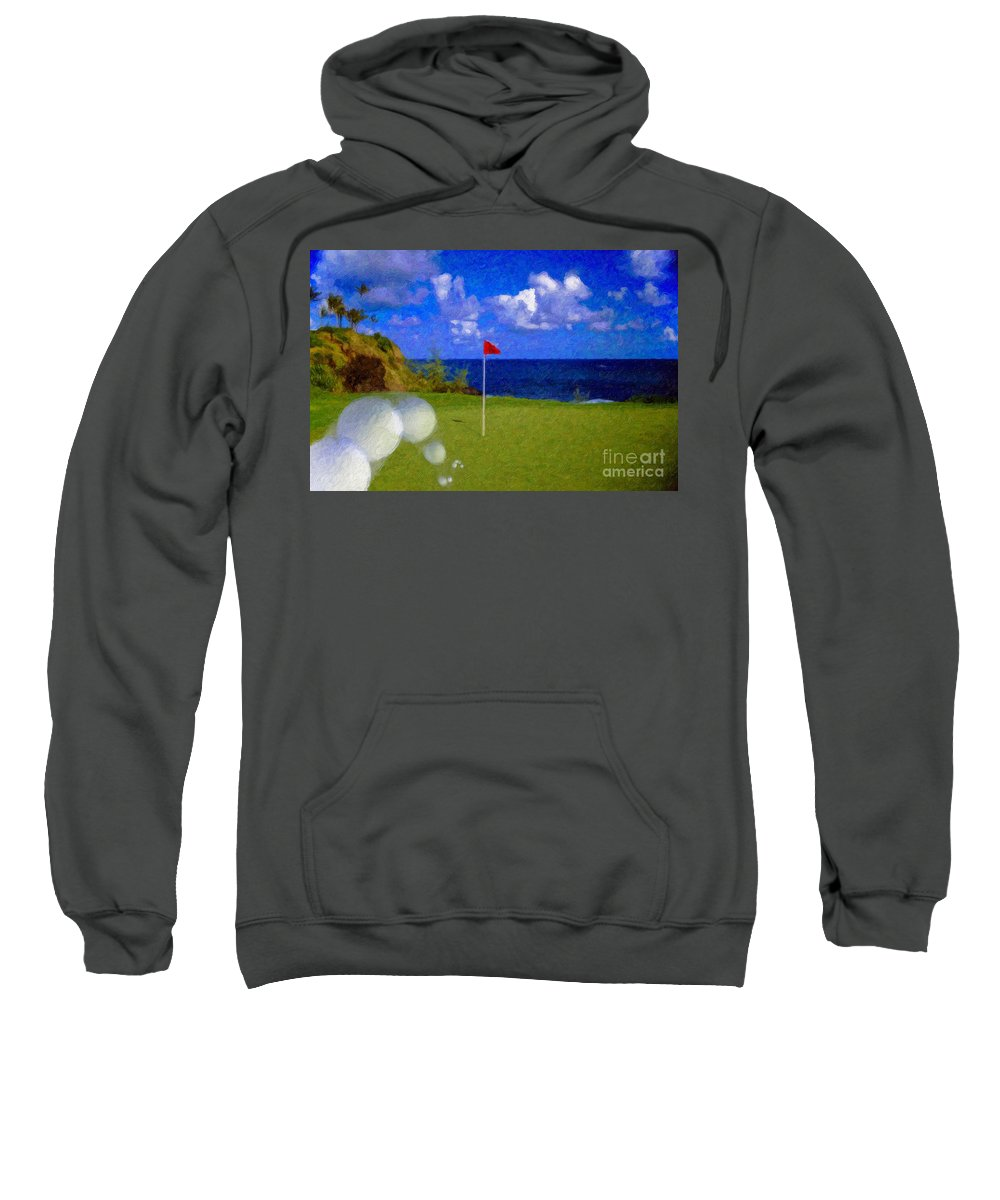 Hole In One 18th Green Ball Flag Green Ocean Palm Trees Sweatshirt featuring the photograph Fantastic 18th Green by David Zanzinger
