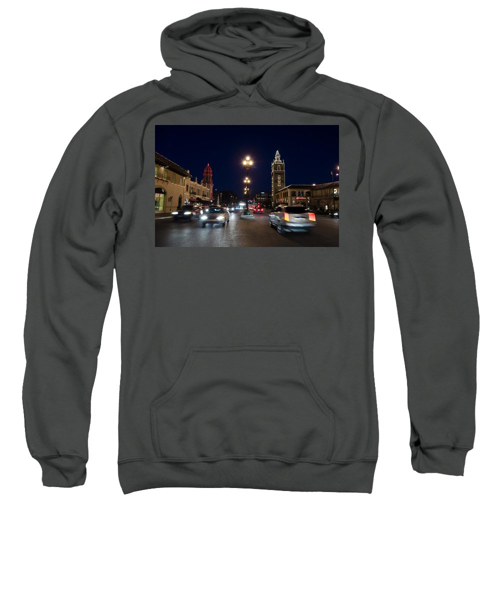 Architecture Sweatshirt featuring the photograph Holiday In Motion On The Plaza by John Diebolt