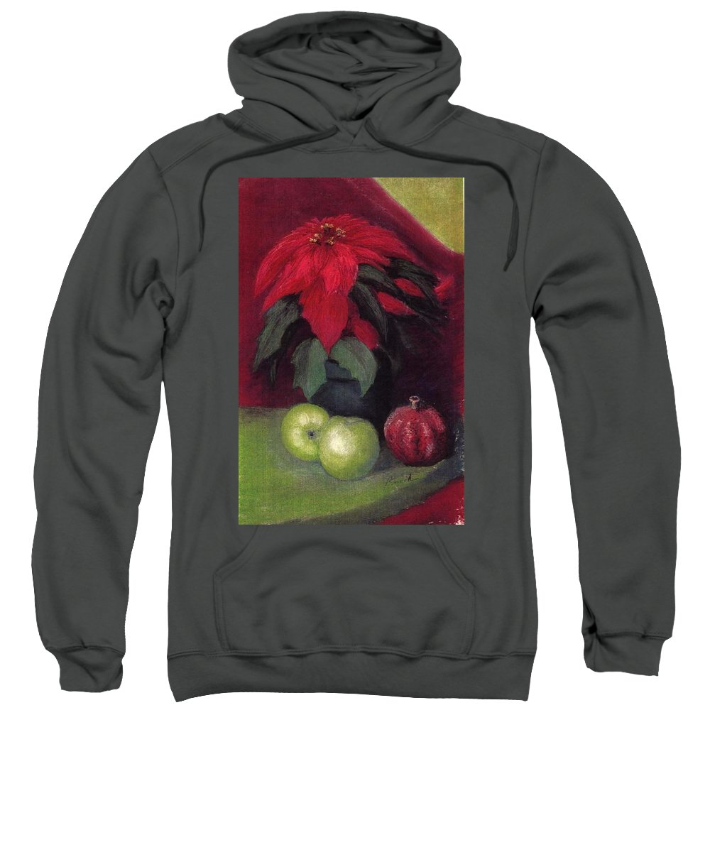 Poinsettia Pomegranite Fruit Holiday Christmas Sweatshirt featuring the pastel Holiday Treats by Pat Snook