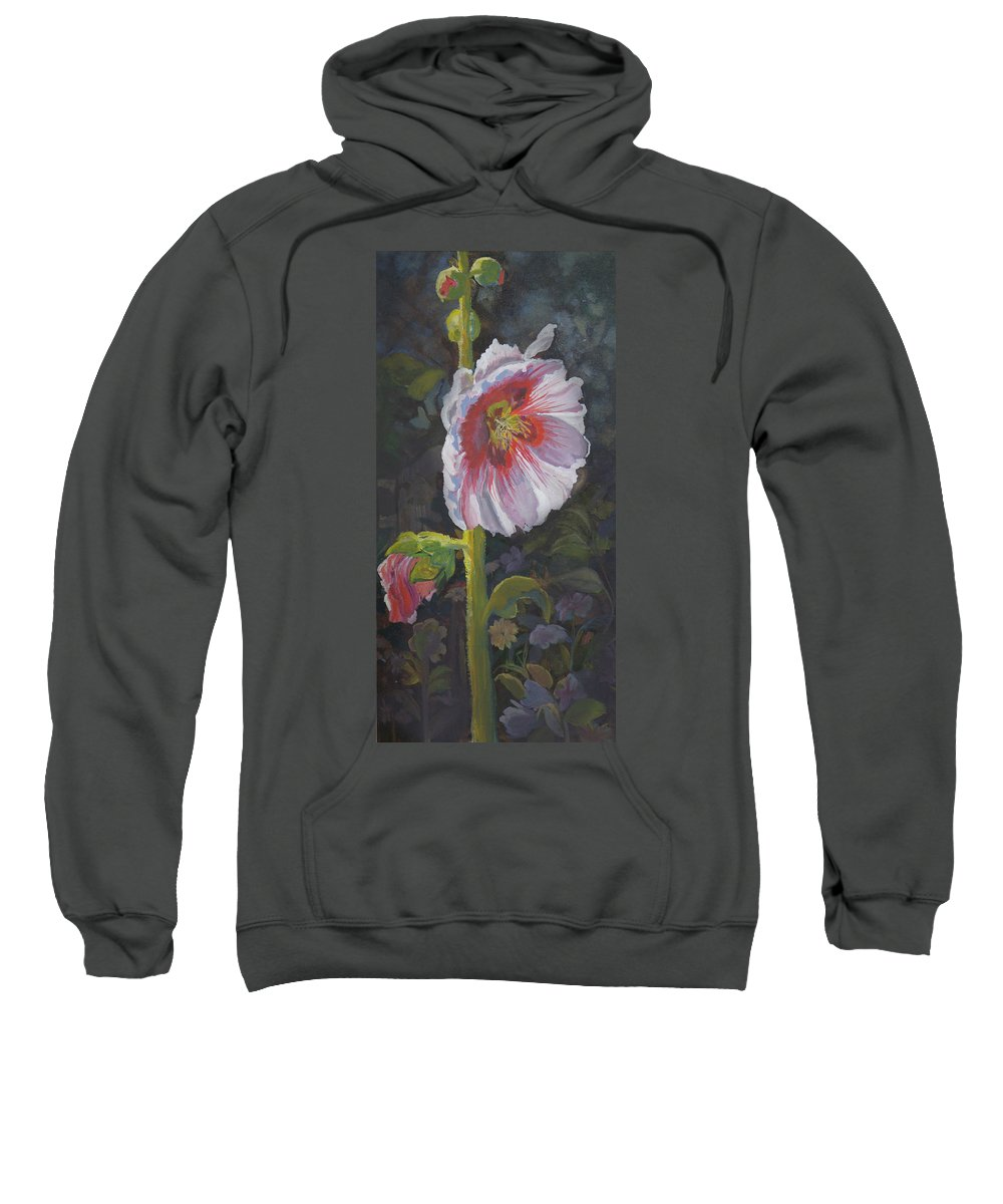 Flower Sweatshirt featuring the painting Hollyhock by Heather Coen